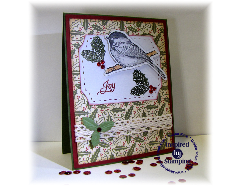 Inspired by Stamping, CraftyColonel, Winter Birds, Elegant Christmas Sentiment, Build A Stocking, Card, Christmas
