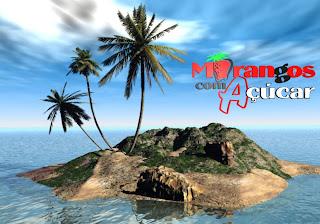 Morangos com Açucar Wallpapers Grátis Logotipo da série em fundo Ilha Deserta 3D