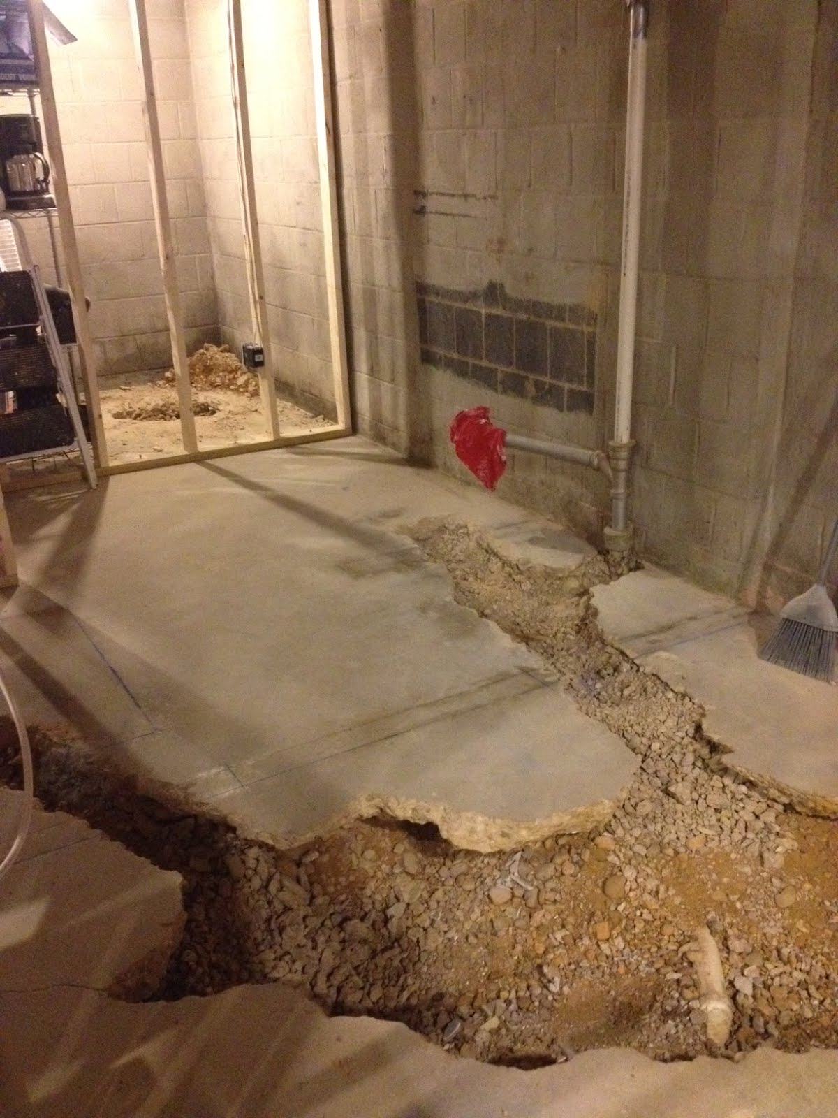 Not quite a teardown concrete and back breaking for Bathroom in basement without breaking concrete