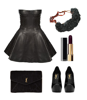 leather panelled baby doll dress with ysl heels and ysl envelope clutch, styled with dark red lipstick and black flower crown