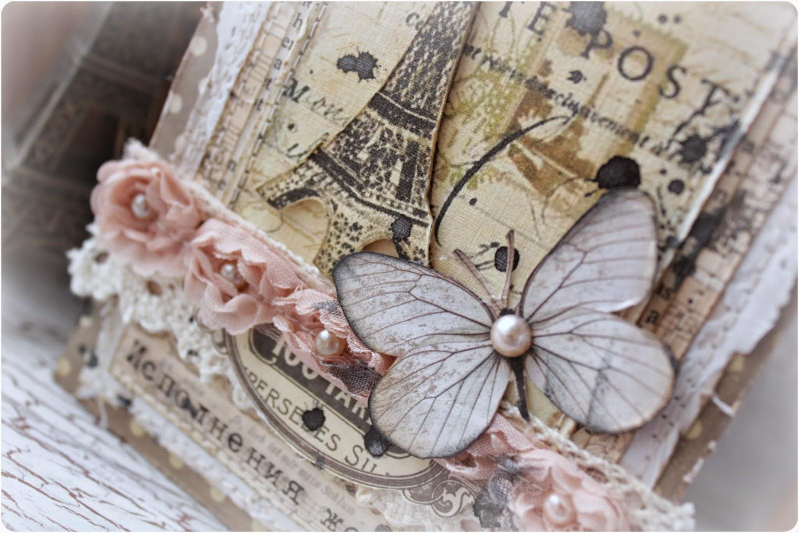 открытка скрапбукинг Париж