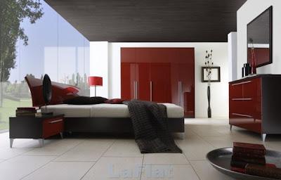 dormitorio rojo, blanco y negro