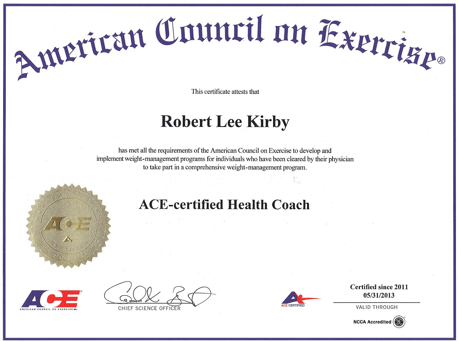 Roberts fitness insights certification validation 5 national certifications that assures my clients that i have the necessary knowledge skills and abilities to safely design and implement an effective alramifo Choice Image