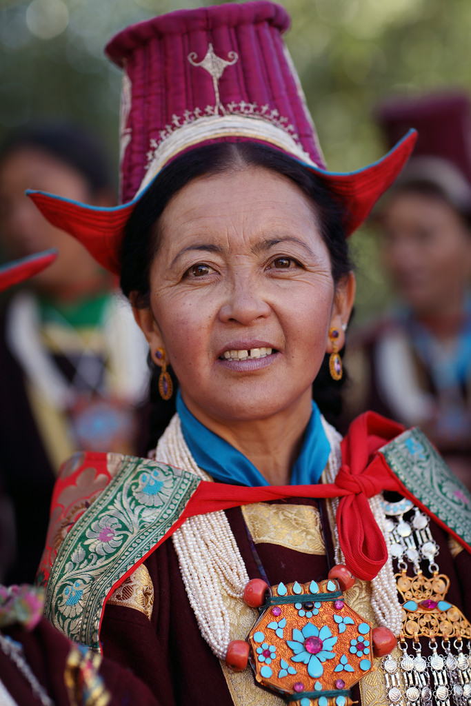 Ladakhi woman wearing ethnic jewelry