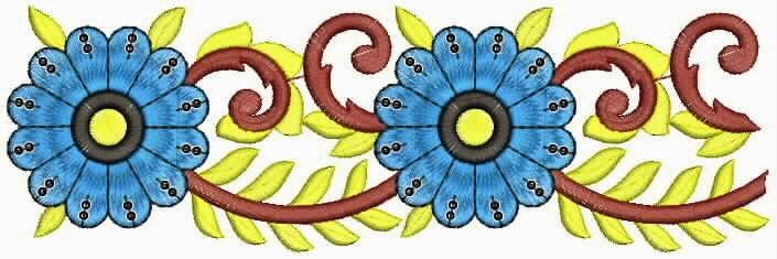 blom borduurwerk patroon Kant grens