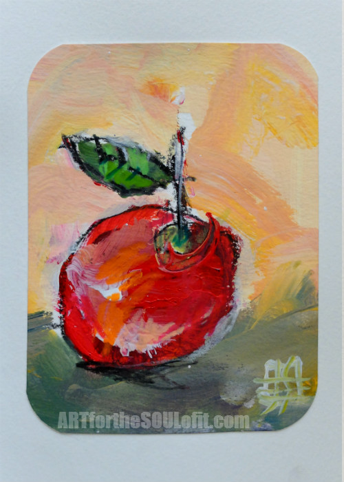 small apple painting acrylic on paper #3