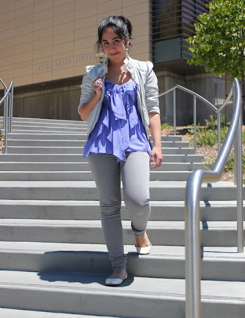 Grey and Purple Outfit