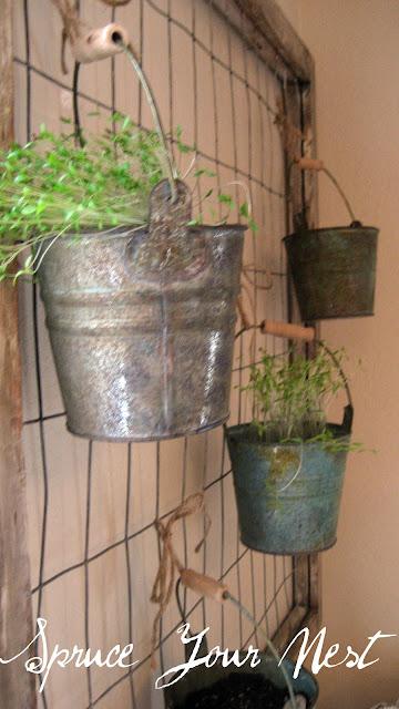 herbs, pots, gate