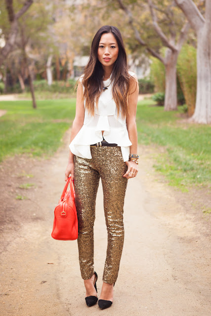 pantalones lentejuelas dorados