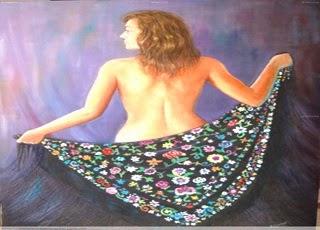 Pintura mujer con mantón Emilio Romero
