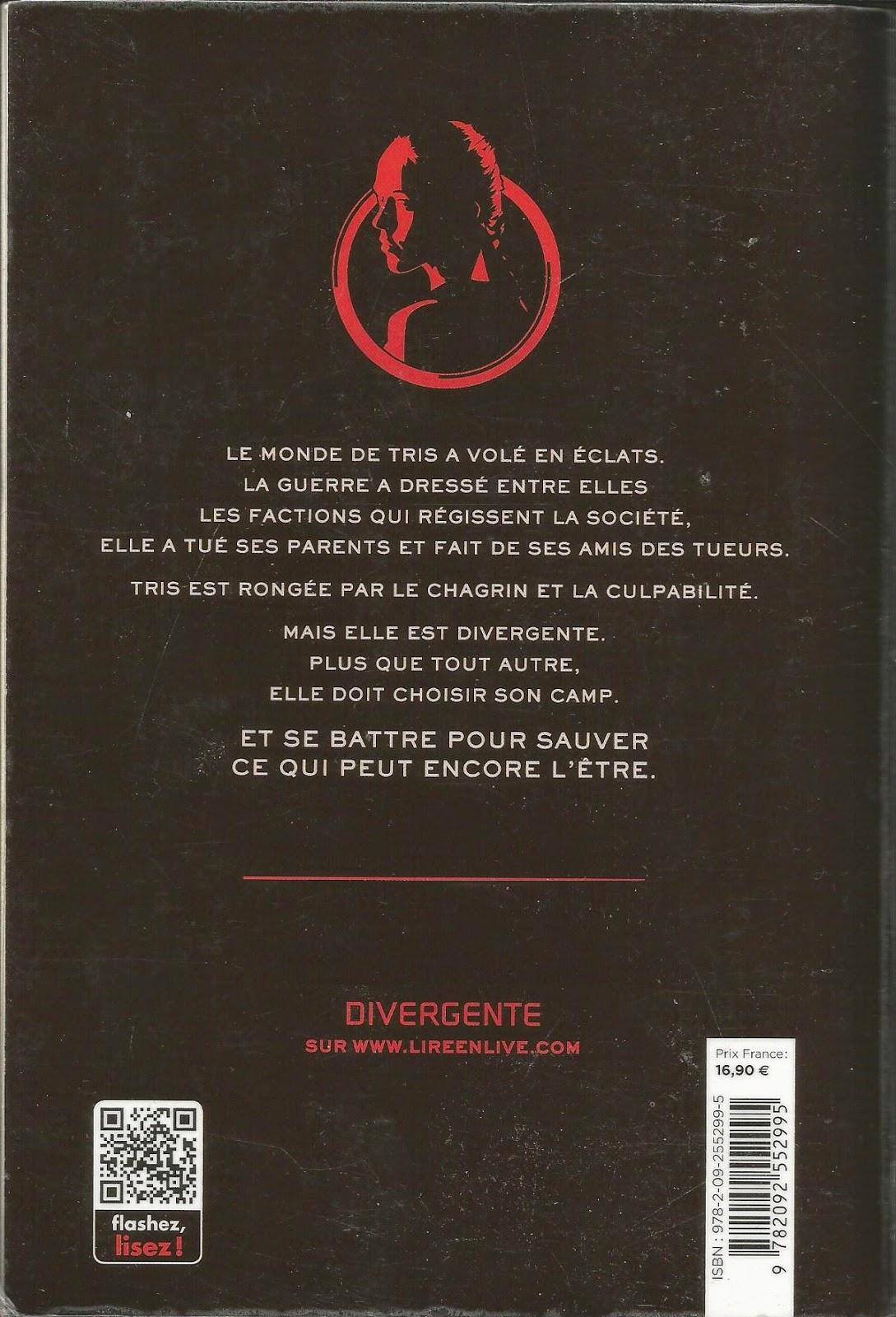 Divergente Veronica Roth back cover quatrième de couverture