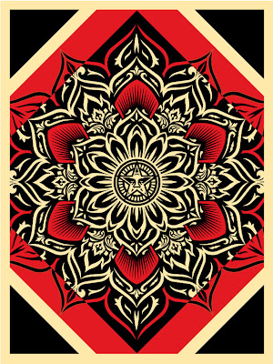 "Obey Giant ""Lotus Diamond"" Red Edition Screen Print by Shepard Fairey"