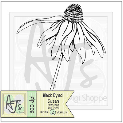 Black Eyed Susan, Digital Stamp, Flower