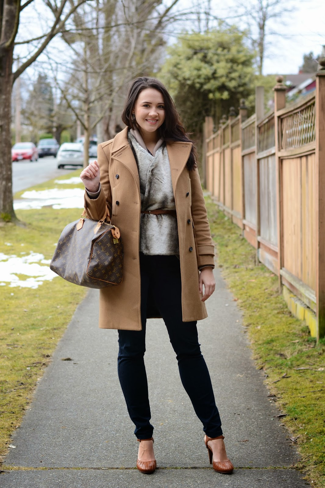 The Broken Stiletto vancouver style blog, vancouver fashion blog, vancouver fashion, vancouver style, canadian fashion blog, ana parfenova,Wilfred camel coat, faux fur thrifted vest, vest under coat, wilfred sweater, jacob pants, Cole Haan heels, Louis Vuitton Speedy 35 bag