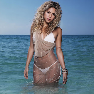 Shakira hot sheer see thru white tanga micro mini string bikini beach girl blonde show off surf pics