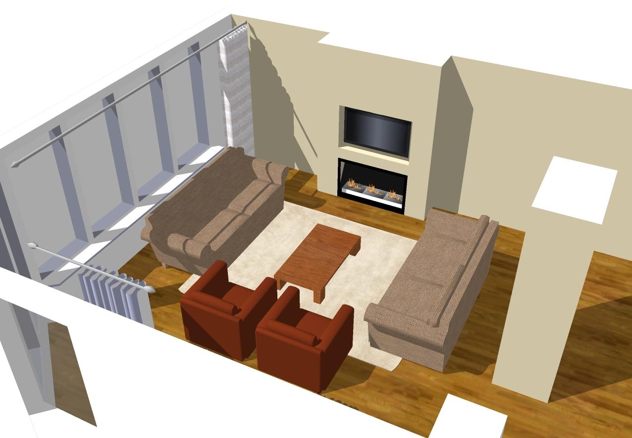 Woonkamer open haard en tv: huis interieur met hoog gewelfd ...