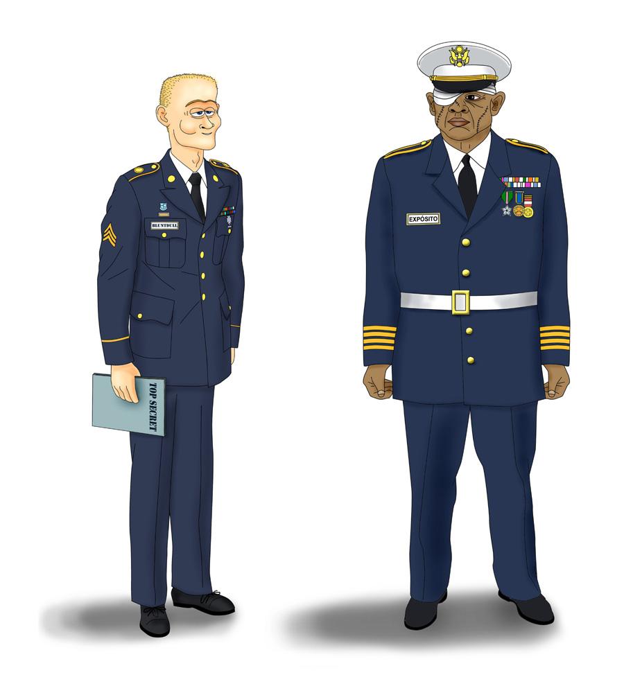 El teniente William Bluntdull y el cápitan Máximus Expósito.