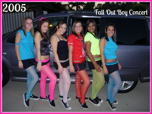 dressed up as eccentric high school girls at a fall out boy concert in 2005