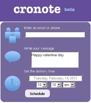 Cronote.com: Set Reminder with Schedule SMS & Email