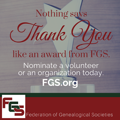 It's time to recognize those amazing volunteers and organizations! via FGS.org