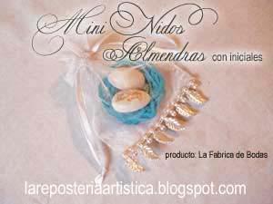 nido celeste con almendras blancas en bolsa de organza decorada con beads