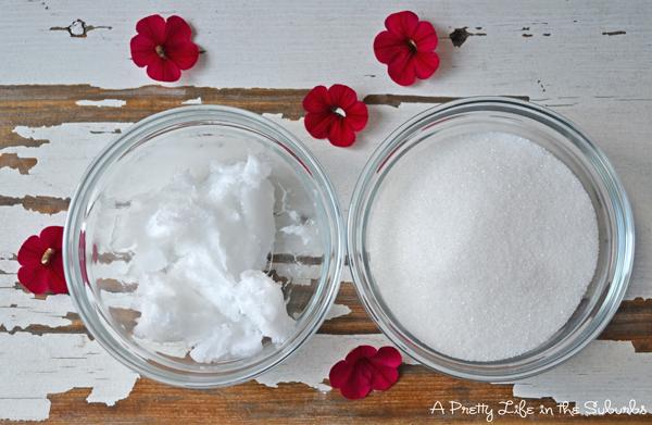 2 Ingredient Coconut Sugar Scrub {A Pretty Life}
