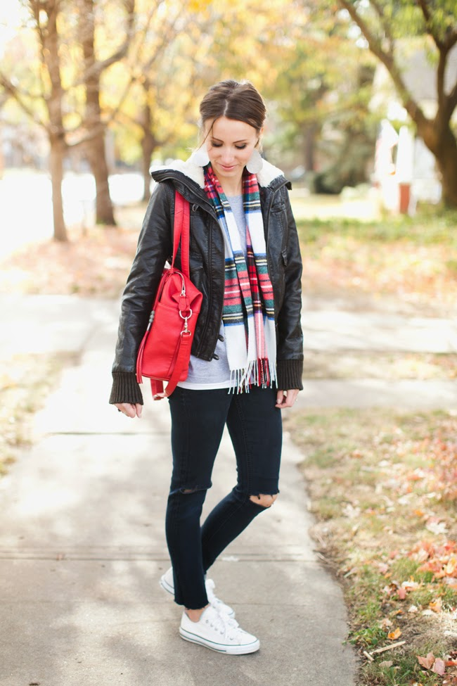 Shearling leather jacket and plaid scarf