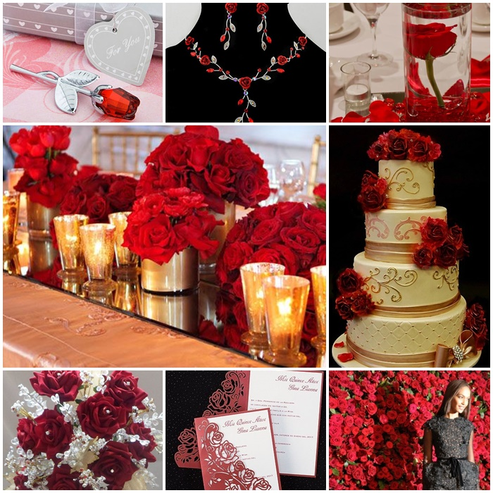 Red roses quinceanera sweet fifteen theme quince candles