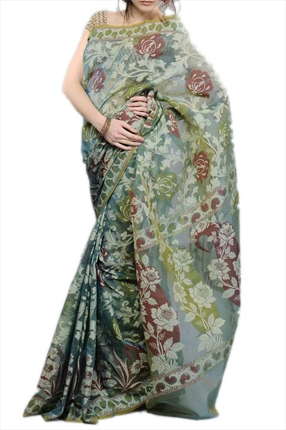 Stone Green Net Saree