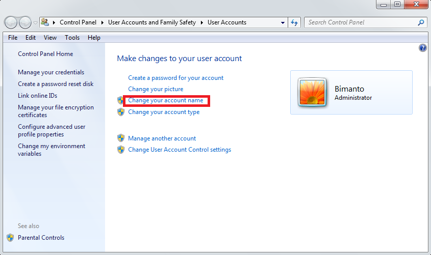 how to change rbc account name