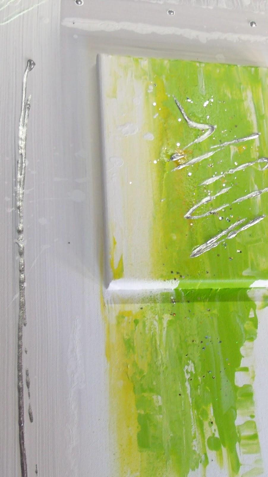 Tableaux Abstrait New Design Vert Anis Composer De 2 Chassis Entoiles  Peintures Abstraites Pour Une Deco Murale Moderne