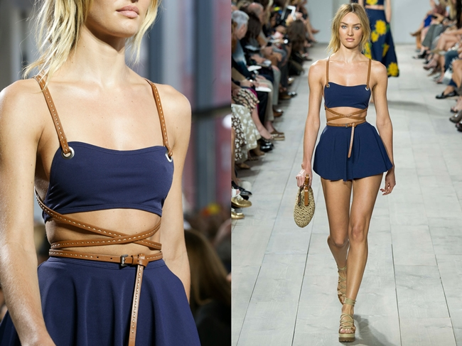 Michael Kors 2015 SS Navy Jersey-spandex Swimsuit on Runway