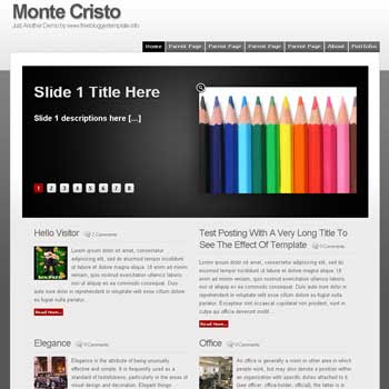 Monte Cristo blogger template convert WordPress to Blogger template. magazine style template. featured content blogger template