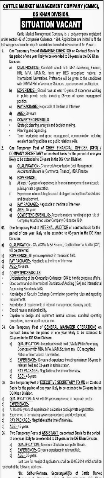 Internal Auditor, Chief Financial Officer and Managing Director Jobs in Cattle Market Management Company, DG Khan