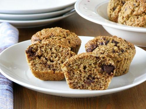 Healthy Banana and Orange Dark Chocolate Chunk Muffins