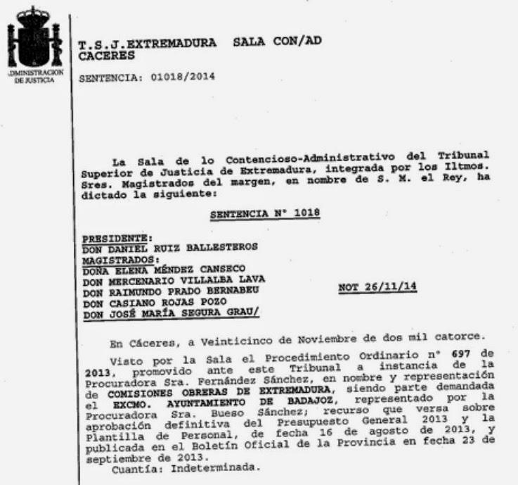Policía Local Extremadura: Anulado el presupuesto y plantilla de ...