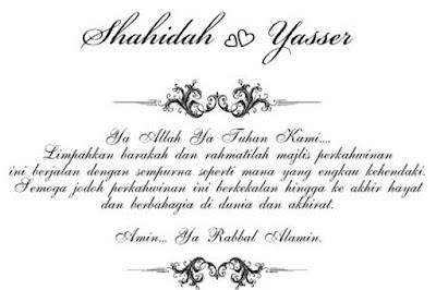 Himpunan Doa Di Kad Kahwin