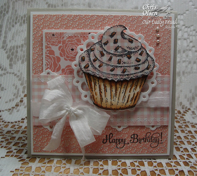 Chris Olsen, Our Daily Bread Designs, Cupcake Single. Birthday Blessings, Gingham Background