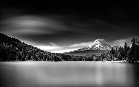 Mount Hood over Trillium Lake in Black & White