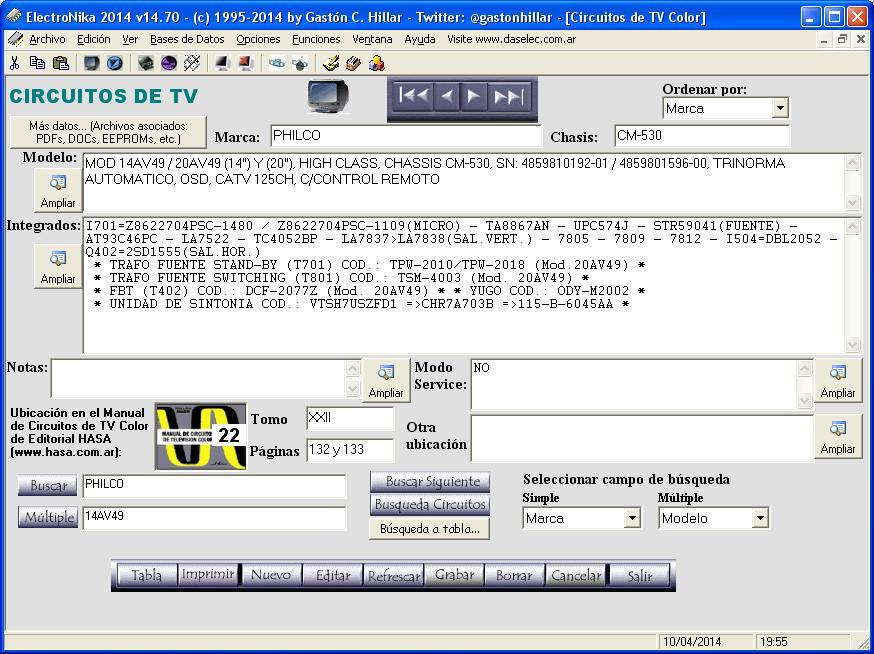 Imagen que muestra la pantalla del software ElectróNika para conocer donde encontrar información técnica y el circuito del equipo que se repara.