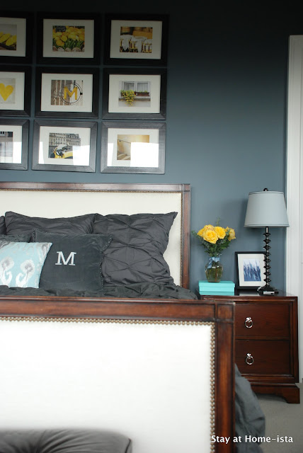 master bedroom with yellow and grey