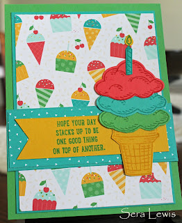 How do you use the bright palette? Let your DSP be your guide, as in this cheery birthday card from Pink Paper Bakery.