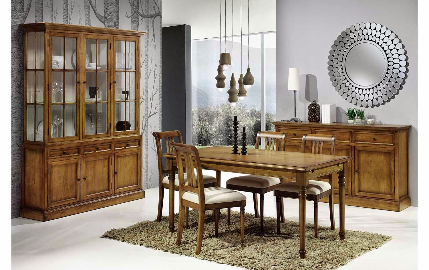 Cinco comedores con vitrinas for Decorar vitrina de comedor