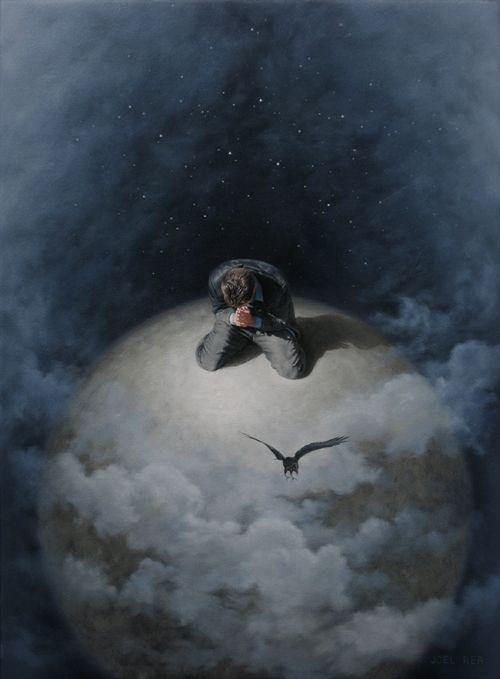 Joel Rea pintura hiper-realista surreal cães gigantes caindo céu Sonhando sonhos de uma oração
