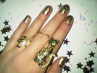 leopard print nails cat ring
