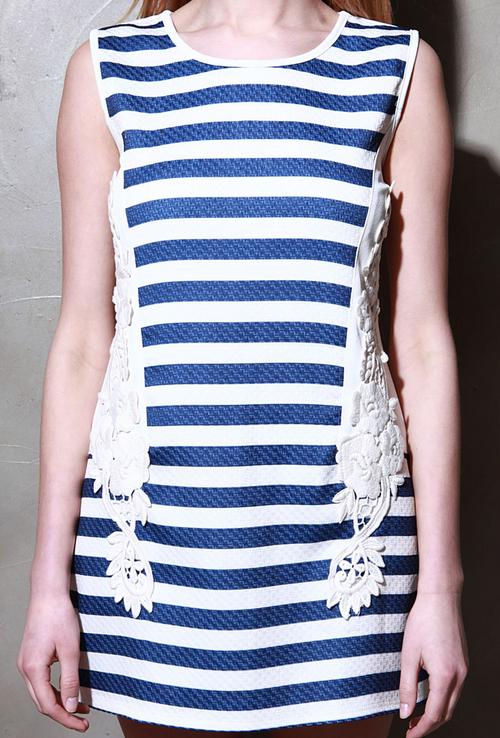 Bella Lace Patch Striped Dress