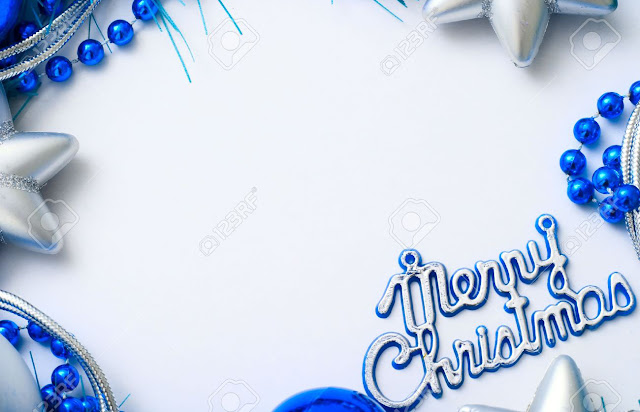 plane white finish with blue colour balls christmas card greetings