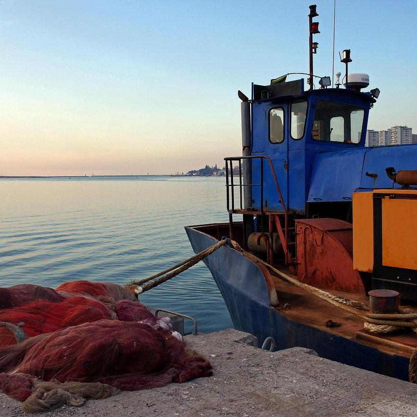 Foto quadrada com pare da proa de um barco de pesca sobre a direita e redes pousadas no chão, sobre a esquerda. Ao fundo a Foz do Douro