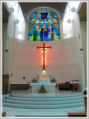 Nov 10 2015 - inside the Church with focus on the sanctuary and stained glass