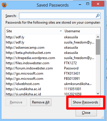 how to remember facebook pasword firefox